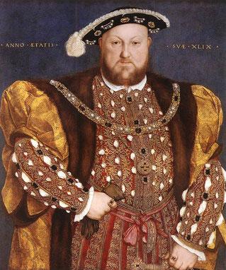 これが、悪名高いヘンリー8世、6人を妻にしそのうち2人を斬首。