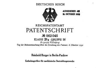 """Patentschrift zur medizinischen Bestrahlungsröhre """"Kaltes-Rotlicht"""" von Reinhold Burger"""