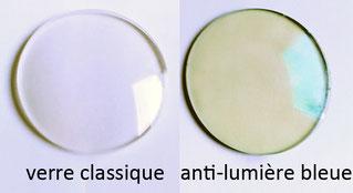 Photo verre de lunettes classique et verre de lunettes anti-lumière bleue