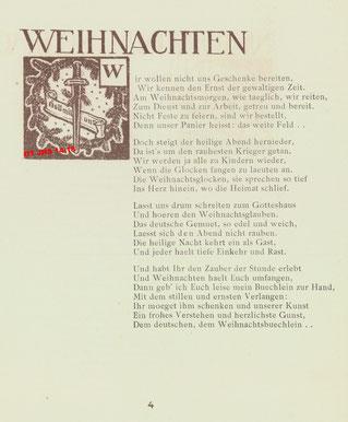 """Poème """"Noël"""" - p. 4 du recueil de F. Crasemann, Seclin, 1917 - Propriété exclusive OT JHS14-18 (Reproduction et copie interdites)"""