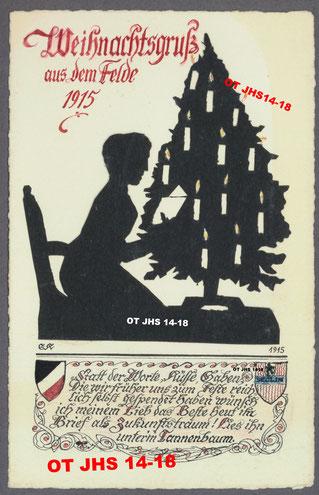 Carte Noël 1915 d'Ernst Kopp à son épouse - Crédit et propriété exclusive : OT JHS14-18©(Reproduction et copie interdites)