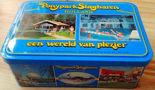 Het blauwe souvenirblikje van 'Ponypark Slagharen' waar 'De Slagharenverzamelaar' mee begon...
