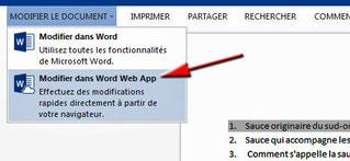 Modifier dans Word Web App