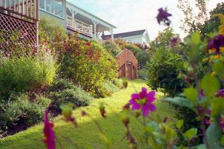 Frau Kathrin war stolz auf ihren blühenden Garten
