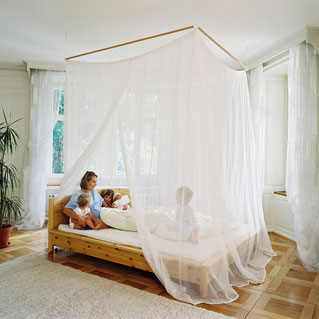 Bed Canopy with Swiss Shield® electromagnetic radiation protection fabric - create bedroom environment low in electromagnetic radiation using patented Swiss Shield® EMF shielding fabrics