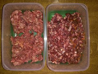 Rindfleisch - haustierkost links, Schlachthof rechts