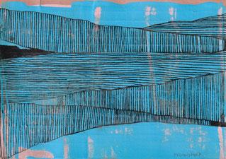 """""""Valley"""" 10,4 x 14 cm, Tinte, Gouache auf Karteikarte 2021"""