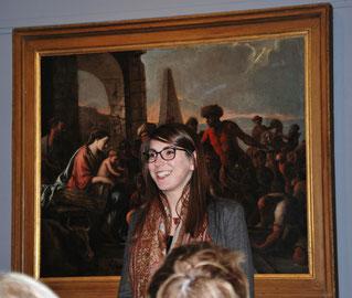 Agathe Jageschmidt devant le tableau de Le Nain  /    photo : Y. François