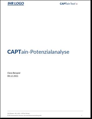 Beispiel Titelblatt Auswertung CAPTainTest® client solution; Kundenspezifische Anpassungen des CAPTain Tests®; Customizing für Ihr Unternehmen; Lassen Sie den CAPTain Tests® an Ihre Bedürfnisse anpassen; Anforderungen, individuell; Potenzialanalyse