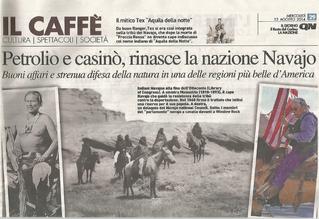 """Nella foto la pagina del """"Giorno di Milano"""" del 13 agosto 2014 con l'articolo di Cesare De Carlo dedicato ai Navajo"""