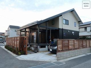 新築外構、和風、御影石、イタウバ、目隠しフェンス、雑草防止シート、施工例