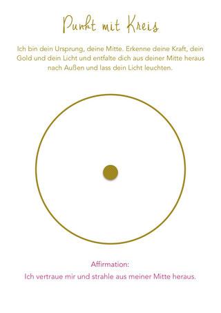 Affirmation Symbol Punkt mit Kreis