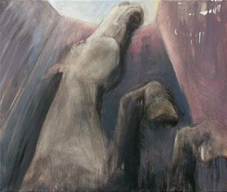 Steiger (abwärts), Öl auf Baumwollgewebe, 60 x 70 cm, 2006