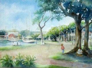 Promenade sur les quais Aquarelle 36x48