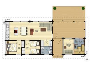 Grundriss - Blockhaus als Wohnhaus oder Zweitwohnsitz - Alterssitz - Singlehaus - Bungalow