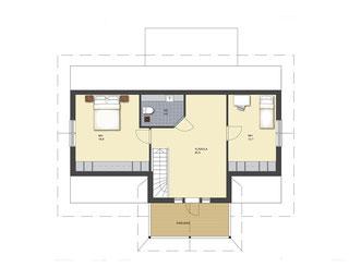Blockhaus - Obergeschoss Grundriss Hausentwurf -  Entwurf  mit  zwei Schlafzimmer,  Dusche, Lobby mit Balkon