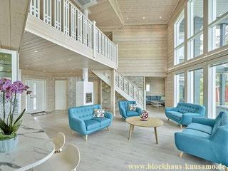 Wohnzimmer im Blockhaus - Skandinavische Architektur - Individuelle Planung, maßgenaue Fertigung - Massive Holzhäuser für anspruchsvolle Blockhaus Bauherren - Berchtesgaden - Bauträgerhaus