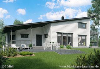 Blockhaus mit Pultdach - Massivholzhaus - Stadthaus - Nachhaltiges Bauen - Biohaus