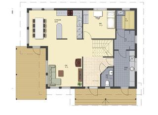 Blockhaus Erdgeschoss - Wohnküche, Gästezimmer oder Arbeitszimmer, Sauna/Bad, Gästetoilette, Hauswirtschaftsraum