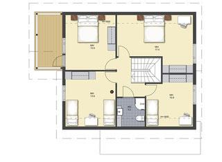 Blockhaus Obergeschoss - Bis vier Schlafzimmer sind möglich - Duschbad - Balkon - Wohnblockhaus - Holzhaus in Blockbauweise -  Individuelle Holzhäuser - Niedersachsen - Zimmerei - Blockhausbauer - Planung - Hauskauf - Hausbau - Naturhaus - Hannover -  Bau