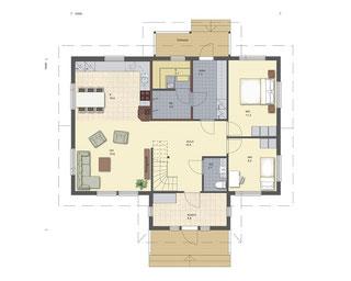 Erdgeschoss Grundriss Hausentwurf -  Entwurf  mit Wohnküche, Flur, Windfang, Arbeitszimmer oder Gästezimmer, Schlafzimmer, HWR,  Sauna, Bad