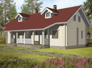 Holzhaus - kleines Doppelhaus in Blockbauweise
