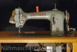 Gritzner SSZ, Gewerbenähmaschine mit ZZ und langem Arm, Flachbett, Anbaumotor, Hersteller: Gritzner-Kayser AG, Karlsruhe-Durlach (Bilder: W. Burger)