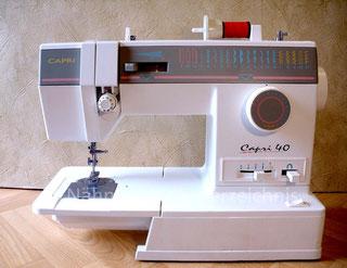 Capri 40, Modell 4667, Programm-Automatik, 21 Programme, Freiarm-Koffer-Nähmaschine mit Einbaumotor, Serien-Nr.: N 635 810 146, Hersteller: M-C-P-K Taiwan (Bilder: I. Naumann)