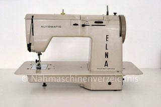 Elna Automatic, mit Schablonen, Flachbett mit Einbaumotor, Hersteller: Elna Tavaro S.A. Geneve Schweiz (Bilder: Naehmaschinenverzeichnis)