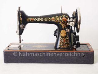 Singer Kl. 66-1, Geradstich, Flachbett, Koffer-Nähmaschine mit Anbaumotor, Serien-Nr.: G981727, Hersteller: Singer Manufacturing Company, 1923 (Bilder: G. Ertl)