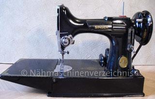 Singer Kl. 221-1, Featherweight, Genradstich-(kleine)Koffer-Nähmaschine mit Klapptisch und Anbaumotor, Serien-Nr.: EF 914 274, Hersteller:  Singer Manufacturing Company, St. Johns, Kanada (BIlder: I. Naumann)