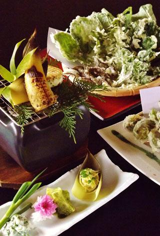 中津川、真の日本料理山菜料理筍料理たけのこ竹の子わらびたらの芽こしあぶらこごみ山うど和食処グルメランチ