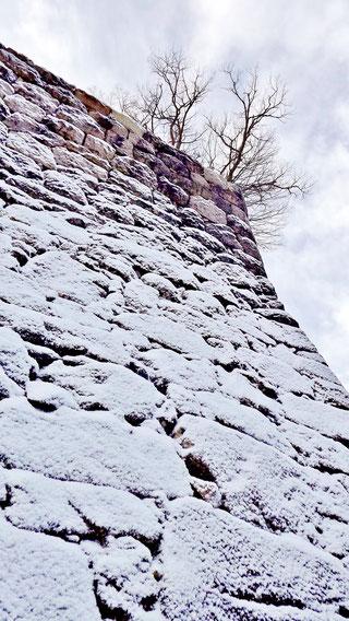 石垣に降り積もる雪ぎふ歴史街道苗木城跡雪景色冬景色