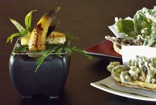 岐阜県中津川市道の駅花街道付知つけち森林の市第27回つけちもりの市山菜料理たけのこ料理たらの芽こしあぶらこんてつやまうどこごみ