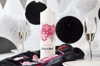 Hochzeitskerze, Hochzeitskerze modern, hochzeitkerze pink, hochzeitsdeko, tischdeko, hochzeiskerze individuell