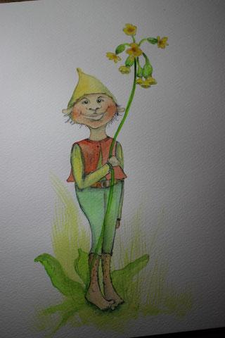 Elf in Aquarell, Blumenelf in Aquarell, Blumenwicht, Waldwicht, Zwerg, Gnom, Aquarellmalen