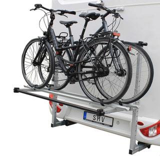Der ideale Fahrradträger für 2 Fahrräder oder E-Bike für Ihr Wohnmobil.