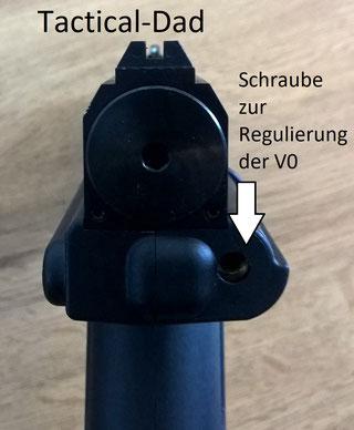An dieser Schraube kann die Energie der Tiberius T8.1 eingestellt werden. Wenn man die CO2 Pistole in eine WBK eintragen lässt darf man sie daran auf die offenbar zu erreichenden 30 Joule aufdrehen.