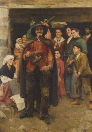 Luis Menéndez Pidal.Guiñol en la aldea 1913.La obra presenta un escenario invertido, en la que todo el protagonismo recae en el lazarillo de perfil observa al ciego que toca la zanfona mientras el guiñol  lo observan campesinos de todas las edades.