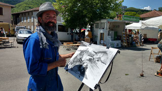 L'artiste peintre, Robin Spencer, anime le stage