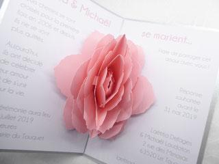 Faire-part Mariage Pop-Up Rose