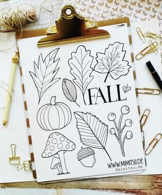 DIY Herbst Doodle Illustration - schwarzweiss - mit Anleitung