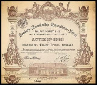 Actie 100 Thaler 22.11.1871. Gründeraktie (R 10).