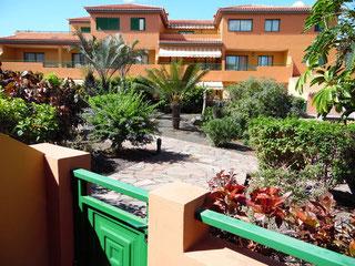 Weg in der Wohnanlage mit tropischen Pflanzen zum Eingang der kleinen Terrasse vom Ferienapartment