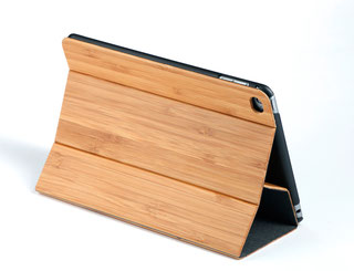 Apple iPad mini4 flip case bamboo wood