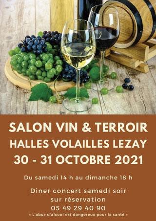 Flyer  de face du salon vin et terroir 2021 de Lezay