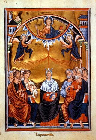 Darstellung des Pfingst-Ereignis aus dem Ingeborg-Psalter (um 1200): Der erhöhte Christus sendet den Heiligen Geist in Gestalt einer Taube auf Maria und die Jünger herab.