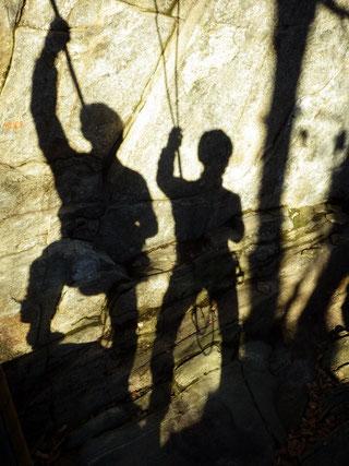 Klettern in der Abendsonne.