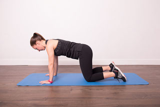 Woman on all fours for abdominal exercise