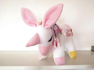 Einhorn als Tier- Kissen mit Namen und Spieluhr in weiß mit rosa Männe